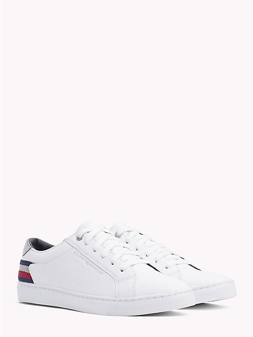 TOMMY HILFIGER Essential Metallic Signature Tape Trainers - WHITE - TOMMY HILFIGER NEW IN - main image
