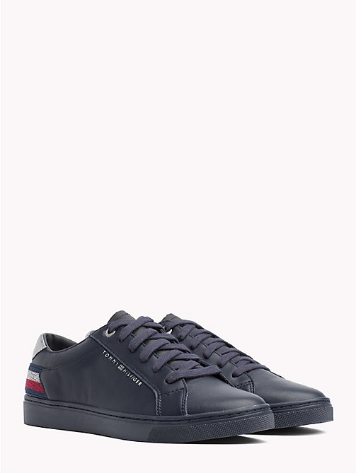 TOMMY HILFIGER Essential Metallic Signature Tape Trainers - MIDNIGHT - TOMMY HILFIGER NEW IN - main image