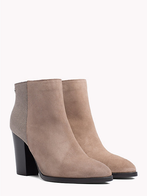 TOMMY HILFIGER Textured Suede Leather Ankle Boots - MINK - TOMMY HILFIGER Heeled Boots - main image