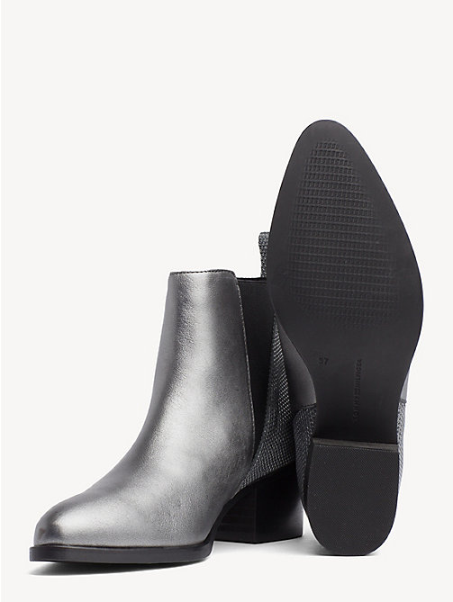 TOMMY HILFIGER Debossed Leather Metallic Chelsea Boots - LIGHT SILVER - TOMMY HILFIGER Heeled Boots - detail image 1