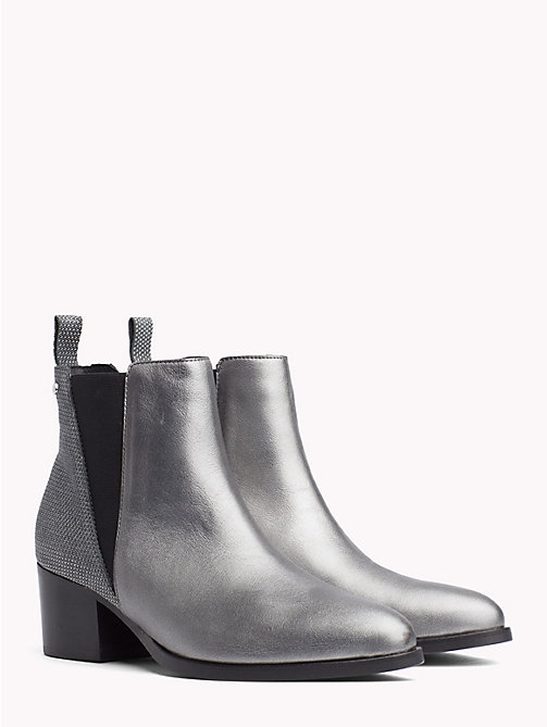 TOMMY HILFIGER Debossed Leather Metallic Chelsea Boots - LIGHT SILVER - TOMMY HILFIGER Heeled Boots - main image