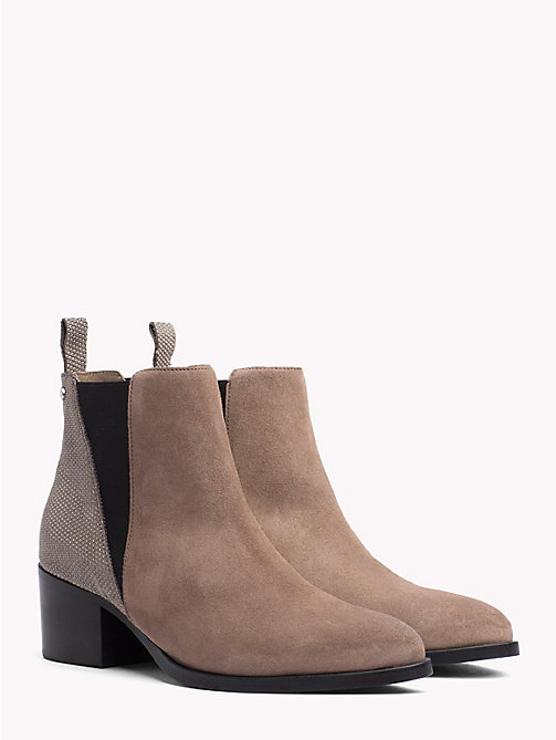 TOMMY HILFIGER Textured Leather Suede Chelsea Boots - MINK -  Heeled Boots - main image
