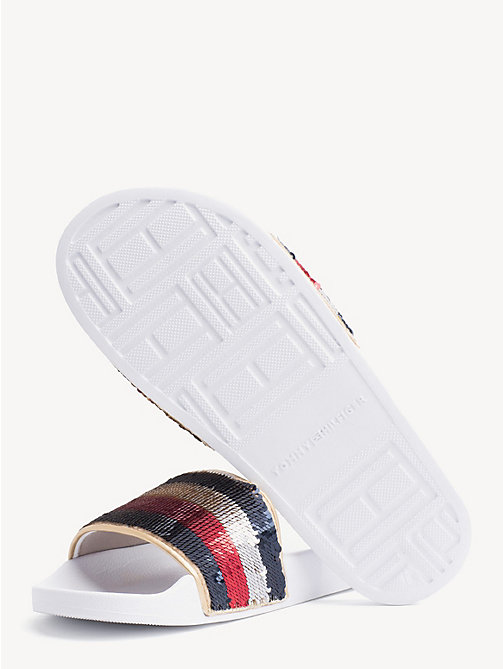 TOMMY HILFIGER Signature Sequinned Strap Pool Slides - WHITE - TOMMY HILFIGER NEW IN - detail image 1
