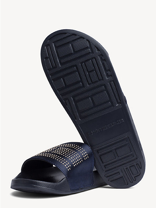 TOMMY HILFIGER Satin Sparkle Detail Pool Slides - MIDNIGHT - TOMMY HILFIGER NEW IN - detail image 1