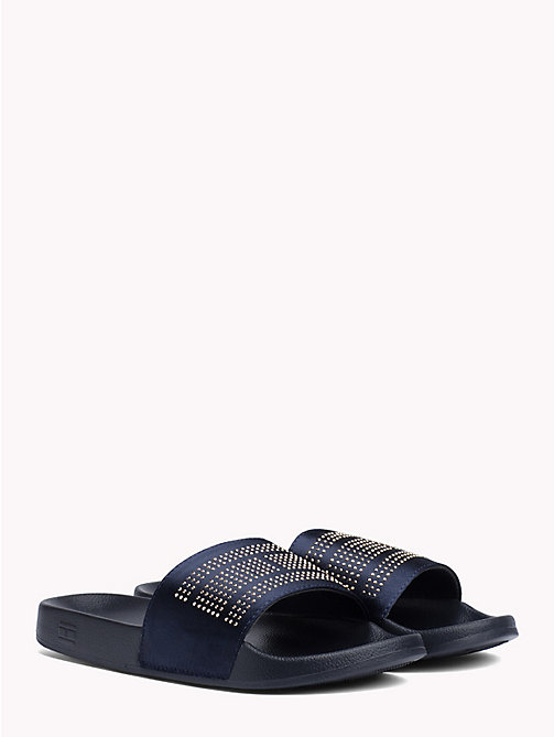 TOMMY HILFIGER Satin Sparkle Detail Pool Slides - MIDNIGHT - TOMMY HILFIGER NEW IN - main image