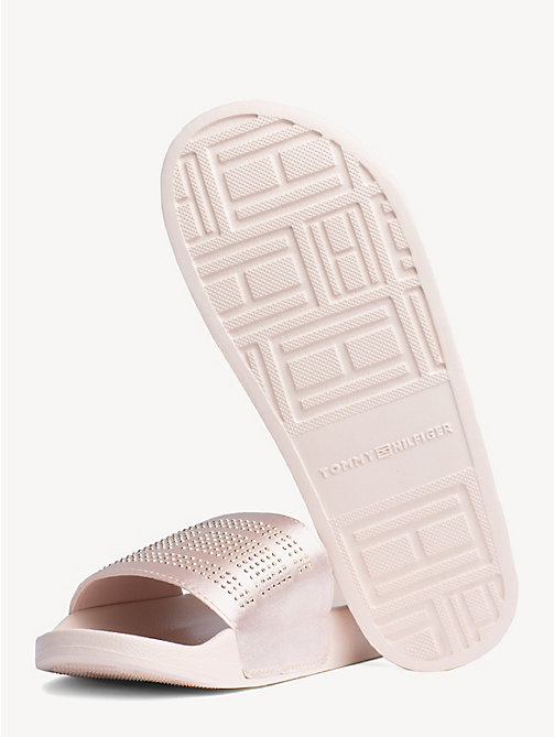 TOMMY HILFIGER Satin Sparkle Detail Pool Slides - SILVER PEONY - TOMMY HILFIGER NEW IN - detail image 1