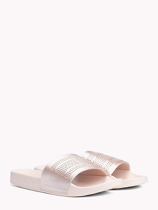 TOMMY HILFIGER Satin Sparkle Detail Pool Slides - SILVER PEONY - TOMMY HILFIGER NEW IN - main image