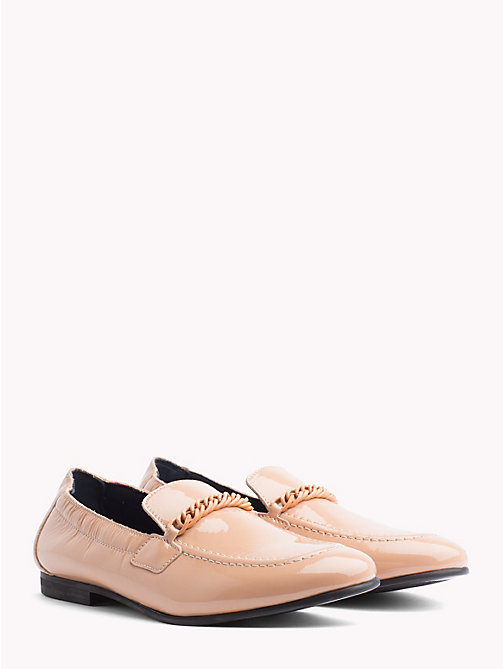 TOMMY HILFIGER Chain Detail Patent Leather Loafers - SILKY NUDE - TOMMY HILFIGER NEW IN - main image
