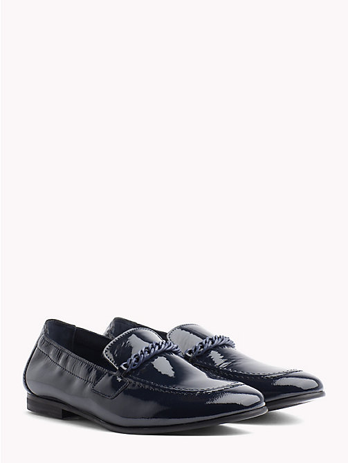 TOMMY HILFIGER Chain Detail Patent Leather Loafers - TOMMY NAVY - TOMMY HILFIGER Moccasins & Loafers - main image