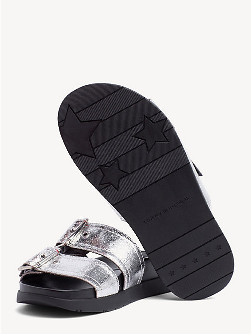 TOMMY HILFIGER Leather Slip-On Sandals - SILVER - TOMMY HILFIGER Shoes & Accessories - detail image 1