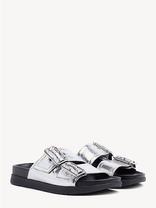 TOMMY HILFIGER Leather Slip-On Sandals - SILVER - TOMMY HILFIGER Shoes & Accessories - main image