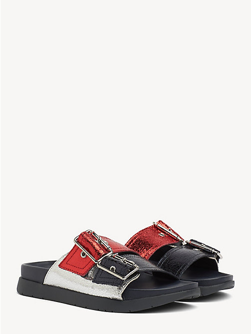 e28b5ce49 red leather slip-on sandals for women tommy hilfiger