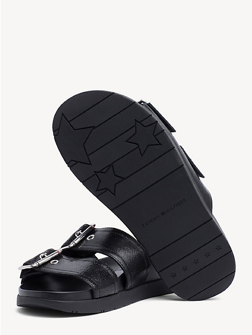 TOMMY HILFIGER Leather Slip-On Sandals - BLACK - TOMMY HILFIGER Shoes & Accessories - detail image 1
