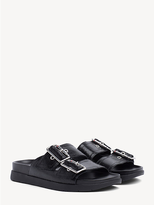 TOMMY HILFIGER Leather Slip-On Sandals - BLACK - TOMMY HILFIGER Shoes & Accessories - main image
