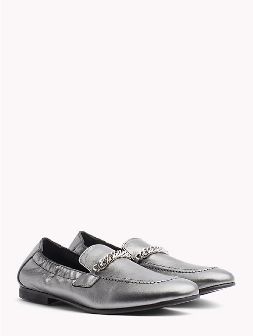 TOMMY HILFIGER Rubberised Chain Detail Metallic Loafers - LIGHT SILVER - TOMMY HILFIGER Moccasins & Loafers - main image