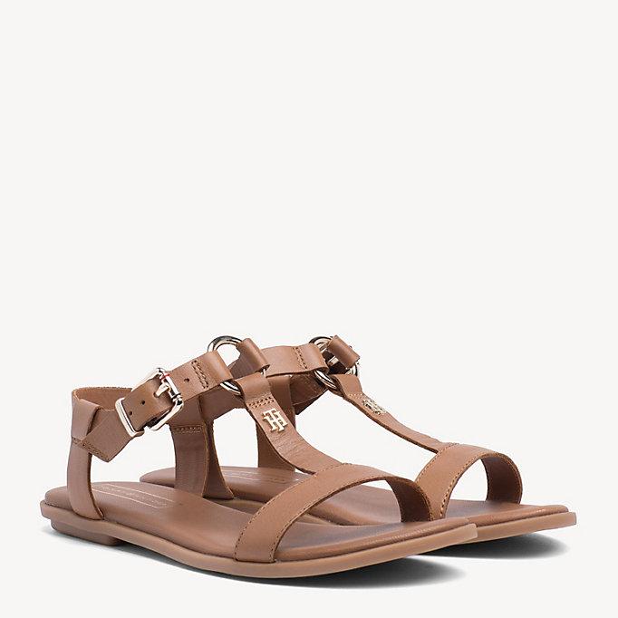 Flat Leather Monogram Sandals | BROWN | Tommy Hilfiger