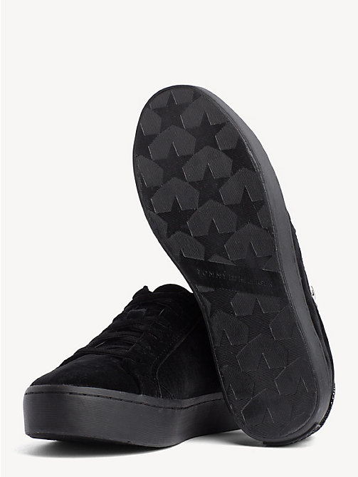 TOMMY HILFIGER Velvet Finish Zip Detail Trainers - BLACK - TOMMY HILFIGER NEW IN - detail image 1