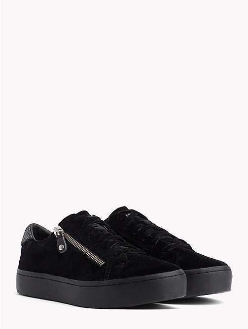 TOMMY HILFIGER Velvet Finish Zip Detail Trainers - BLACK - TOMMY HILFIGER Trainers - main image