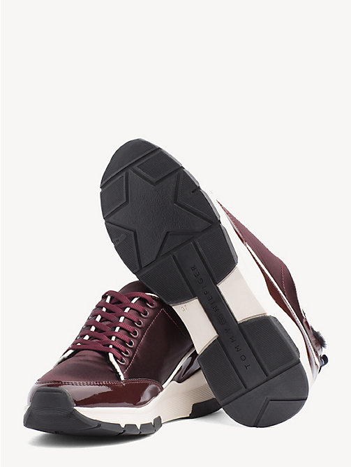 TOMMY HILFIGER Satin Panel Platform Trainers - DECADENT CHOCOLATE - TOMMY HILFIGER Trainers - detail image 1