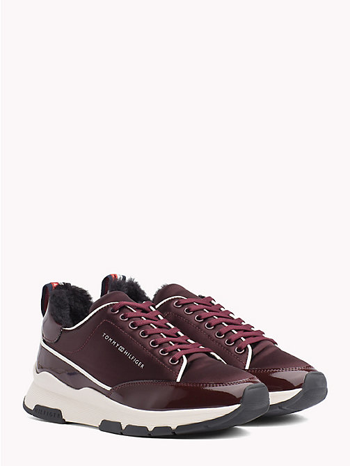 TOMMY HILFIGER Satin Panel Platform Trainers - DECADENT CHOCOLATE - TOMMY HILFIGER NEW IN - main image