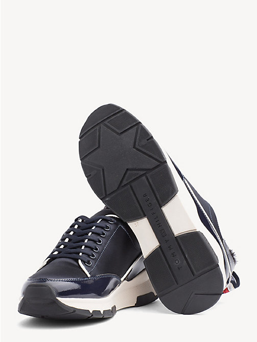 TOMMY HILFIGER Satin Panel Platform Trainers - MIDNIGHT - TOMMY HILFIGER Trainers - detail image 1