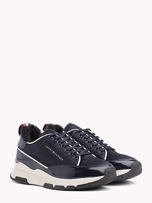 TOMMY HILFIGER Satin Panel Platform Trainers - MIDNIGHT - TOMMY HILFIGER Trainers - main image