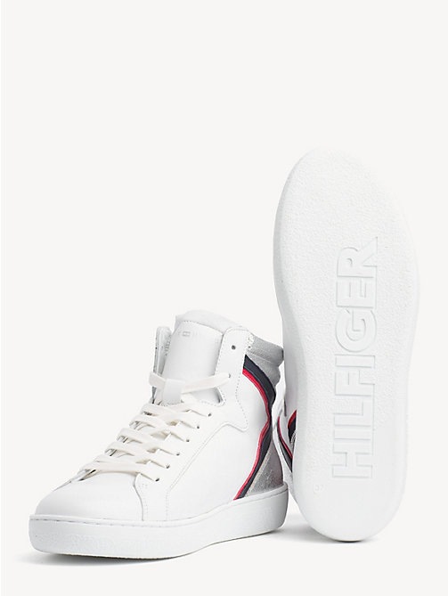 TOMMY HILFIGER Iconic Colour-Blocked High-Top Trainers - WHITE - TOMMY HILFIGER Trainers - detail image 1