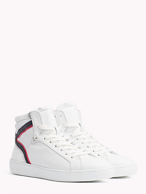 TOMMY HILFIGER Iconic Colour-Blocked High-Top Trainers - WHITE - TOMMY HILFIGER Trainers - main image