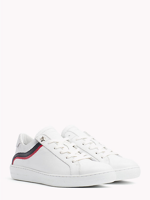 TOMMY HILFIGER Iconic Colour-Blocked Low-Top Trainers - WHITE - TOMMY HILFIGER Trainers - main image