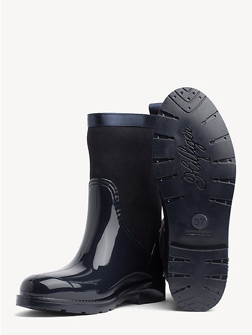 TOMMY HILFIGER Patent And Suede Rain Boots - MIDNIGHT - TOMMY HILFIGER Wellies - detail image 1