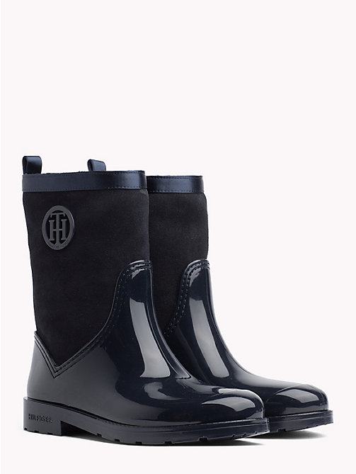 TOMMY HILFIGER Patent And Suede Rain Boots - MIDNIGHT - TOMMY HILFIGER Wellies - main image