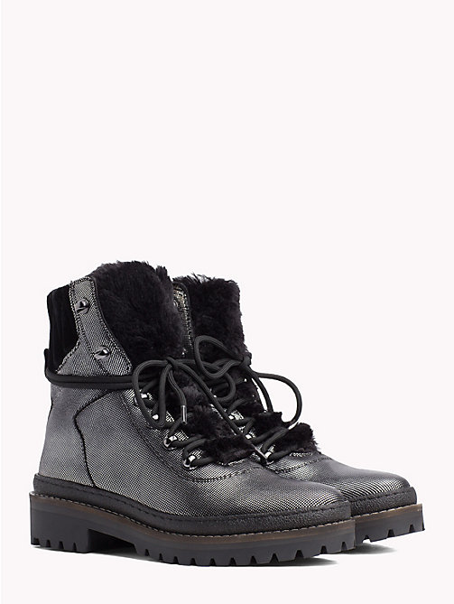 5083da55b257bf TOMMY HILFIGERMetallic Lace-Up Hiking Boots
