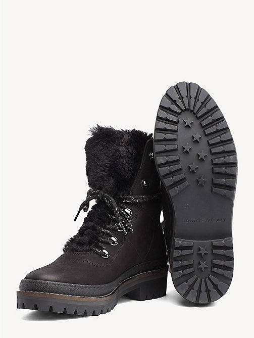 TOMMY HILFIGER Lined Lace-Up Hiking Boots - BLACK - TOMMY HILFIGER Ankle Boots - detail image 1