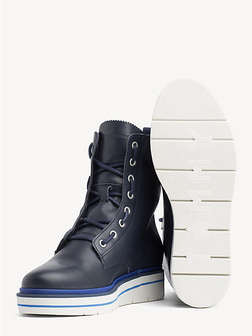 TOMMY HILFIGER Lace-Up Leather Combat Boots - TOMMY NAVY - TOMMY HILFIGER Ankle Boots - detail image 1