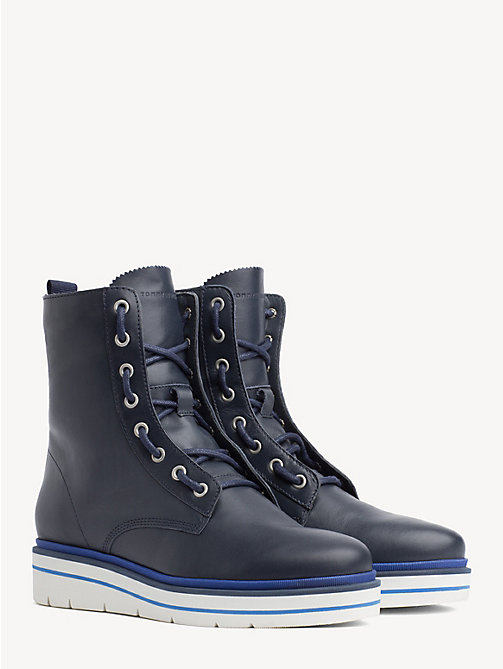 TOMMY HILFIGER Lace-Up Leather Combat Boots - TOMMY NAVY - TOMMY HILFIGER Ankle Boots - main image