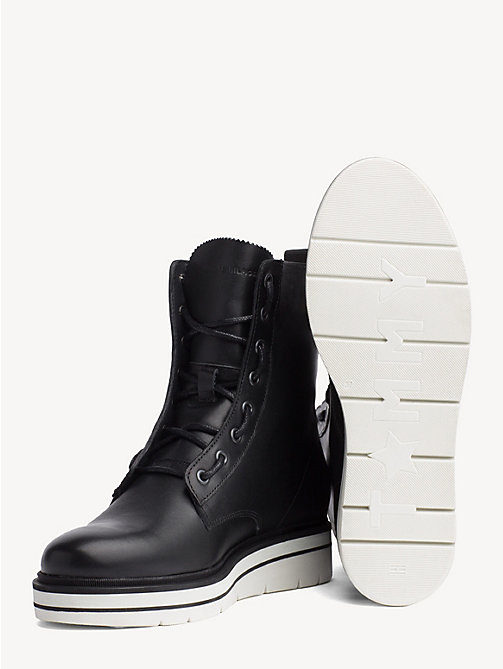 TOMMY HILFIGER Lace-Up Leather Combat Boots - BLACK - TOMMY HILFIGER NEW IN - detail image 1