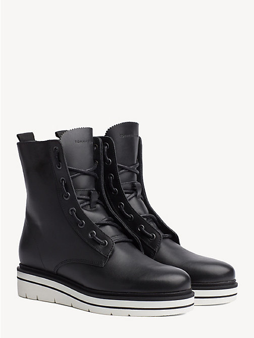 TOMMY HILFIGER Lace-Up Leather Combat Boots - BLACK - TOMMY HILFIGER Ankle Boots - main image