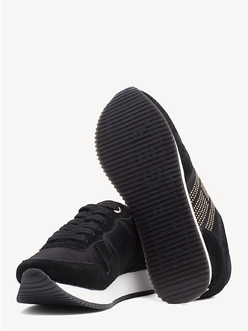 TOMMY HILFIGER Glittering Satin And Suede Panel Trainers - BLACK - TOMMY HILFIGER NEW IN - detail image 1