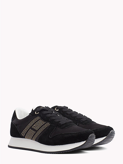 TOMMY HILFIGER Glittering Satin And Suede Panel Trainers - BLACK - TOMMY HILFIGER NEW IN - main image