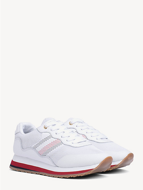 TOMMY HILFIGER Signature Tape Retro Trainers - WHITE - TOMMY HILFIGER Shoes & Accessories - main image
