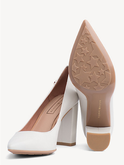 TOMMY HILFIGER Leather Block Heels - WHISPER WHITE - TOMMY HILFIGER Pumps - detail image 1