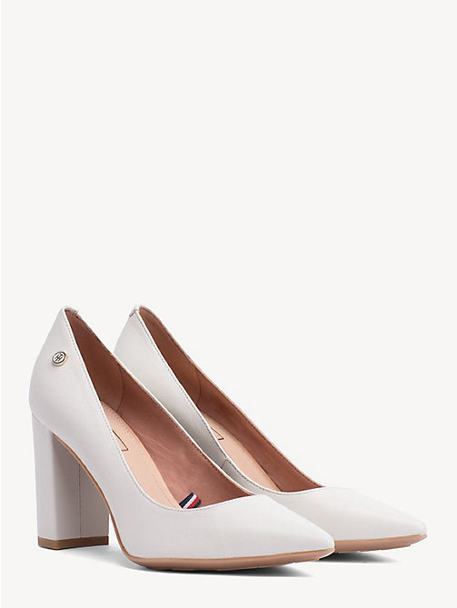 TOMMY HILFIGER Leather Block Heels - WHISPER WHITE - TOMMY HILFIGER Pumps - main image