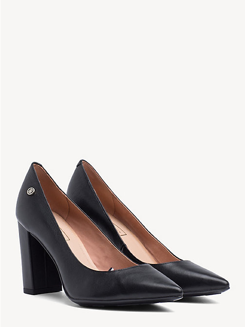 TOMMY HILFIGER Leather Block Heels - BLACK - TOMMY HILFIGER Pumps - main image