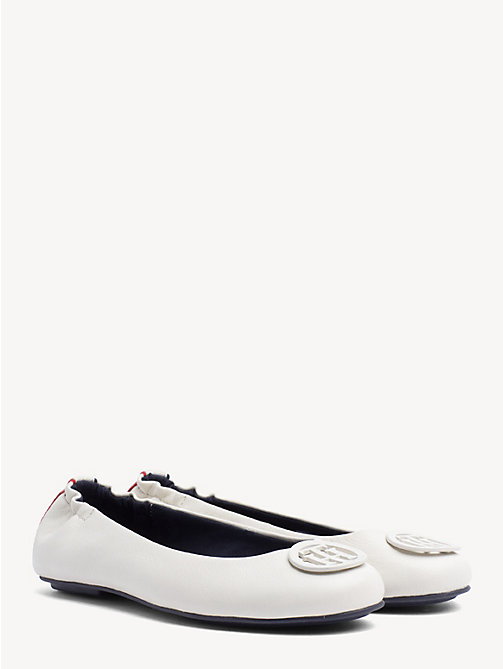 TOMMY HILFIGER Leather Ballerina Pumps - WHISPER WHITE - TOMMY HILFIGER Ballerina Shoes - main image