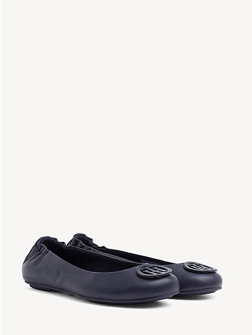 TOMMY HILFIGER Leather Ballerina Pumps - TOMMY NAVY - TOMMY HILFIGER Ballerina Shoes - main image
