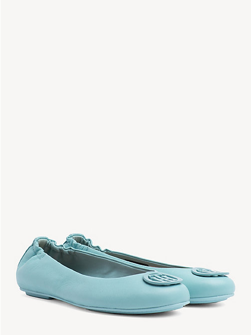 TOMMY HILFIGER Leather Ballerina Pumps - AQUA HAZE - TOMMY HILFIGER Ballerina Shoes - main image