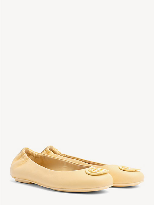 TOMMY HILFIGER Leather Ballerina Pumps - GOLDEN HAZE - TOMMY HILFIGER Ballerina Shoes - main image
