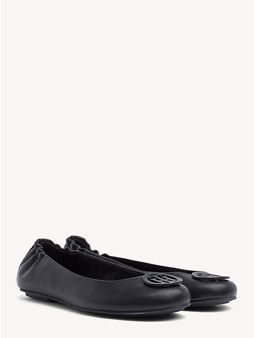 TOMMY HILFIGER Leather Ballerina Pumps - BLACK - TOMMY HILFIGER Ballerina Shoes - main image