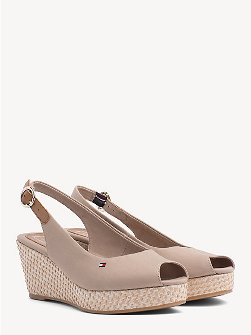 TOMMY HILFIGER Slingback Wedge Heel Sandals - COBBLESTONE - TOMMY HILFIGER Wedges - main image
