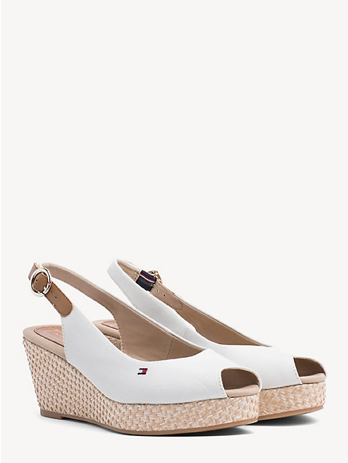 TOMMY HILFIGER Slingback Wedge Heel Sandals - WHISPER WHITE - TOMMY HILFIGER Wedges - main image